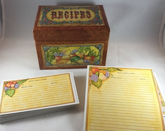 Recipe Box and Cards - Fruit Recipe Box - Fruit Recipe Cards - Vintage Kitchen Storage - Current Recipe Box - Current Recipe Cards