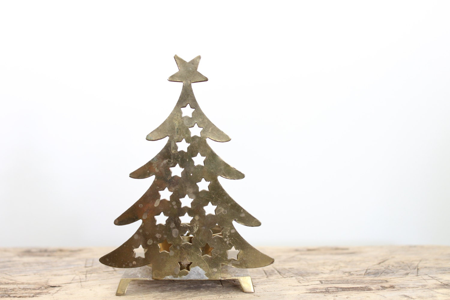 Vintage Brass Christmas Tree Tea Light Candle Holder // Vintage Brass  Holiday Decoration //
