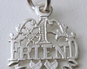 Genuine Solid 925 Sterling Silver Best '1' Friend SYMBOL Charm/Pendant