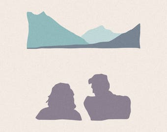 "Couple by the Mountains - 12"" x 12"" Simple Minimalistic Canvas Print - Good Birthday Present"