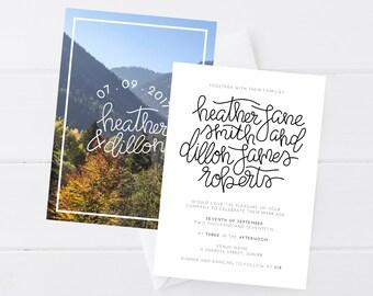 Hand Lettered Wedding Invitation Rustic/Vintage, Wedding Invitation Printable, Wedding Invitation PDF