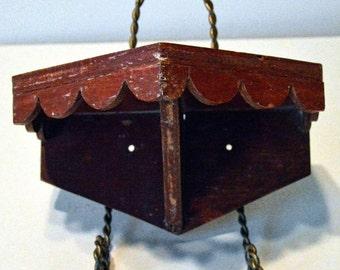 Antique Folk Art Shelf with Scalloped Edge