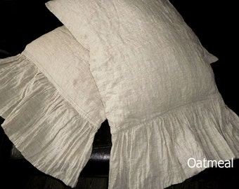 Shams Natural Linen Pillow, linen pillowcase with long ruffles,oatmeal ruffled pillow shams,linen bedding,linen pillow case with ruffles