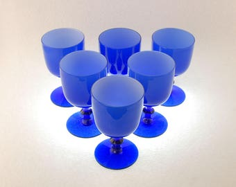 Six Empoli 6 Oz. Hand Blown Cased Blue Glass Wine Goblets, Attributed to Carlo Moretti, Mid Century Hand Blown Italian Cobalt Wine Glass