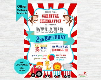 Carnival Theme Party Invitation, Carnival Birthday, Circus Invitation, Digital Printable
