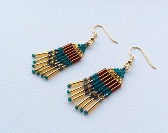 Gold Plated and Beaded Chandelier Earrings, Native American Style, Brick Stitch, Handmade, Green and Gold
