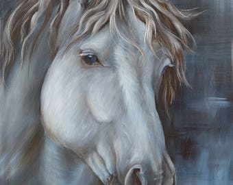 "Horse head Acrylic Painting Original artwork Mc Arthur by Caroline Fellis 12x16"" Equestrian Art Gray Animal painting Small stretched canvas"