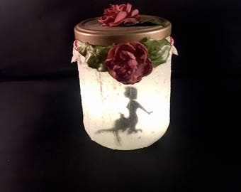 "Light up Fairy in a Jar named ""Darla"" LED Candle Holder"