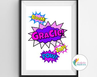 Girl's Super Hero Name Print - Girl's Superhero Name Print