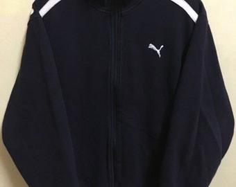 Vintage 90's Puma Dark Purple Sport Classic Design Skate Sweat Shirt Sweater Varsity Jacket Size M #A732