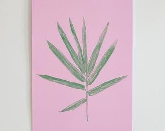 Palm Leaf Botanical A3 Print (Pink)