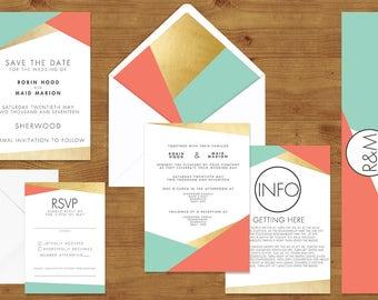 Aqua and Coral Geometric Wedding Invitations Stationery Set - Printed or Digital Download - Coral Wedding - Aqua Wedding - Wedding Printable