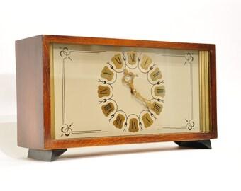 Vintage Mantel Collectible mechanical clock Vesna (Vega), USSR clock, Soviet desk clock, wooden clock, chime