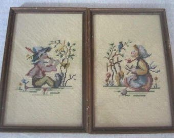 Set Of 2 Vintage Boy & Girl Hummel Finished Needlepoint Pictures Framed Vintage Hummel Embroidery