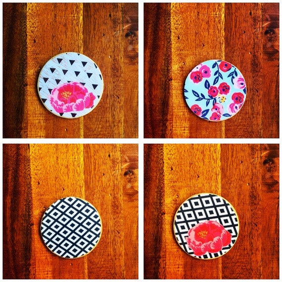 Set of four drink coasters, drink wear coasters, drink coasters, floral coasters, minimal coasters, wood coasters,