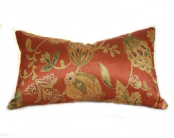 """22"""" x 12"""" Lumbar Pillow Cover In Jungle Flowers  terracotta, persimmon, gold, blue, olive green colors, modern, traditional styles, tropical"""