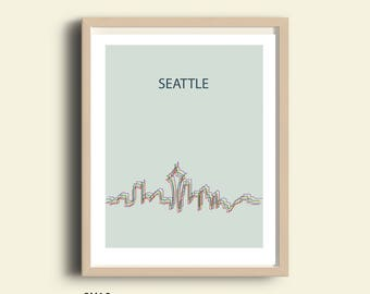 PRINTABLE Seattle print, Seattle skyline, Seattle Washington,  city poster, Wall art, digital print, cityscape, art print, office home decor