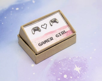 Gamer studs gamer girl earrings gift for a gamer girl video game earrings controller earrings gamer jewellery gift for a video gamer