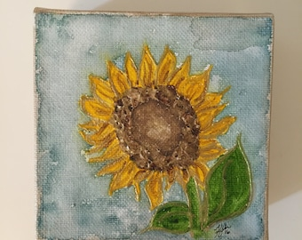 Sunflower Painting | 4x4 Canvas