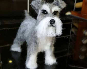 Handmade needle felted miniature schnauzer made to order