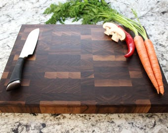 End Grain Walnut Chopping Block - Cutting Board, Wedding Gift, Housewarming Gift, Anniversary Gift, Engagement
