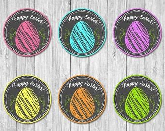 Easter Egg Cupcake Toppers   Chalkboard   Easter Party Stickers   Easter Party Toppers   Easter Brunch Favors   Easter Egg Hunt Stickers