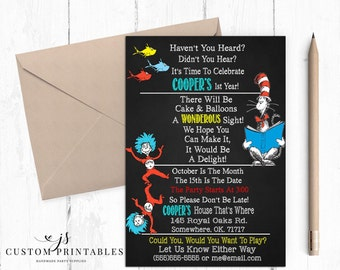 Seuss Inspired Birthday Invitation; Printable; Cat In The Hat; Thing 1 and Thing 2 Birthday; Seuss Party; First Birthday; Digital File; DIY