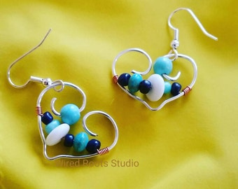 Silver heart earrings, heart and stone earrings, gemstone and silver earrings, silver hoops, heart hoop earrings, turquoise silver earrings