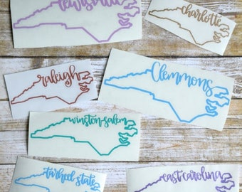 North Carolina Sticker North Carolina Decal NC Outline Sticker NC Outline Decal Customized NC Sticker