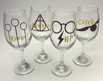 FULL SET Harry Potter Wine Glass - Harry potter wine glass set - Gryffindor wine glass - Harry Potter gifts