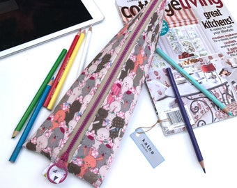 Pink bunnies stationary case/ pouch/ bag ( Water Resistant fabric lining)