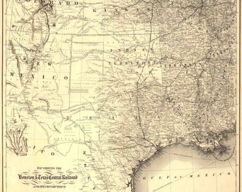 Texas, American History, Texas Map, Map of Texas, Houston, Railroad, Railroad Map, Vintage Map, 1800's Map, 212