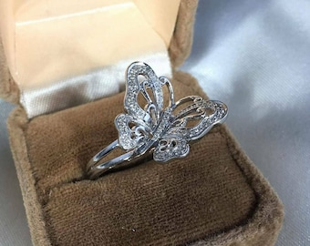 Sterling Silver Butterfly & CZ Ring Size 7.5