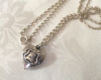 Sterling Puffy Heart with Liberty Bell on Silver Chain, Vintage
