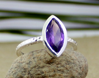 amethyst ring, marquise ring, valentine gift ring, women's ring, 925 silver ring, Texture Band , handmade ring, ETR1012