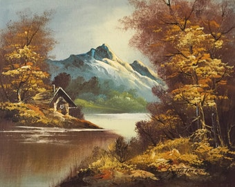 Original Oil Painting - Landscape on Canvas - by listed artist, G. Whitman (Gordon Whitman?)