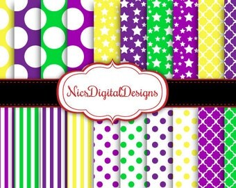 Buy 2 Get 1 Free-20 Digital Papers. 4 Tone Patterns in Mardi Gras Colours (2J no 1) for Personal Use and Small Commercial Use Scrapbooking