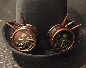 Steampunk Top Hat, Cyber Punk, Retro, With Copper Effect Spikey Goggles, With Octopus Lens