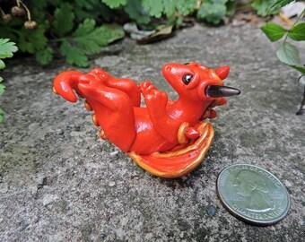 OOAK Red Baby Faery Dragon Fallen