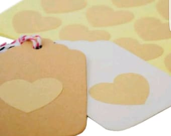 60 pcs Blank Kraft Heart Sticker - Envelope Seals - Favor Stickers - Weddings - Gifts