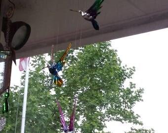 Glass Hummingbird Wind Chimes