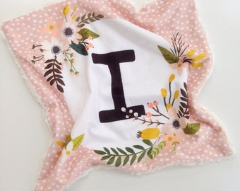 Personalized Baby Blanket Lovey, Faux Fur Baby Blanket, Minky Baby Blanket, Modern Baby Blanket, Baby Shower Gift, Baby Girl
