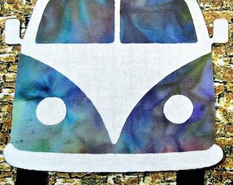 Hippie Van Iron On Applique Patch, Beetle Van Accent, Bug Van Accent,  Multi-Color Tie Dye Batik Fabric, Hippie Van Accent
