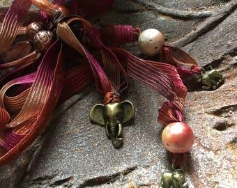 Wrap Bracelet, Wildlife Fundraiser, Elephant Jewelry, Lucky Charm, Elephant Bracelet, Boho Bracelet, Mother Jewelry, Friend Bracelet, Peach
