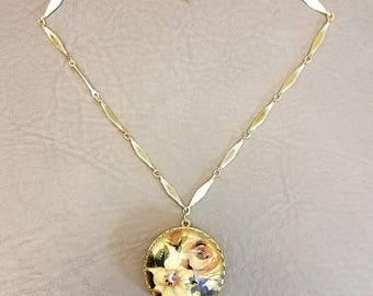 Vintage Cloisonne Floral Gold Round Locket Necklace