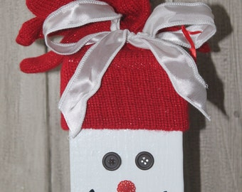 Wooden Snowman - Red Knit Hat with White Ribbon