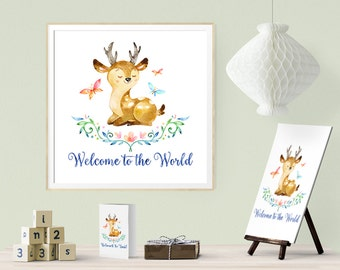 Nursery wall art Welcome to the World Dear Little Deer, one of the Forest Friends animal set, custom add name print digital instant download