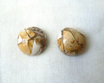 Set of two round cabochons of Brecciated Mookaite - P340 Gemstones