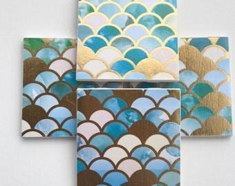Coasters, Gold Coasters, Blue Coasters, Decorative Coasters, Set of 4 Coasters, Tile Coasters, Drink Coasters, Ceramic Coasters