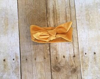 Mustard headband, baby headband, knot headband, toddler headband